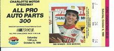 F-067 - Vintage NASCAR Ticket Stub, 1990 All Pro Auto Parts 300, Charlotte
