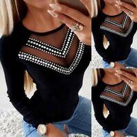 Women's O Neck Long Sleeve Tops Diamond Mesh Hollowed Casual Blouse T Shirt UK