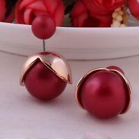 Romantic Double Side Pearl Earrings Fancy Ball Romantic Gold Jewelry For Women