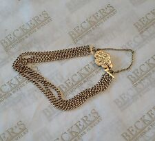 """Antique 14k yg Bracelet with an Etched Slide Clasp and 3 Row Curb Chain  ~7.5"""""""