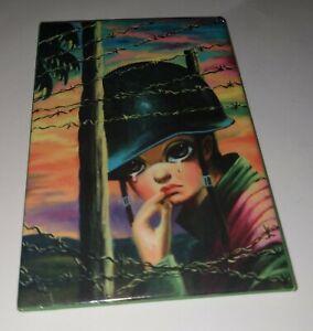 Retro Vintage Big Eyes Eyed Sad War Soldier Vet print fridge magnet Mini Art