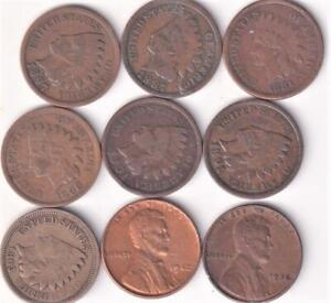 9 DIFFERENT USA 1 CENT COINS 1863-1942 INDIAN HEAD & LINCOLN V5