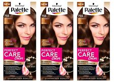 Schwarzkopf Palette 755 Silky Brown Permanent Hair Colour Perfect Care X3 Dyes