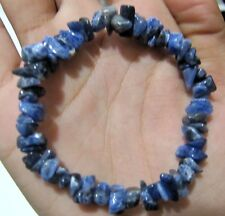 Natural Sodalite Chip Stretchy Bracelet Uncut Nugget 6mm To 9mm 7 Inches.