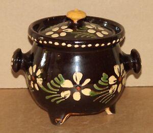 Daubière marmite en terre cuite vernissée, Art Populaire de Savoie ou d'Alsace