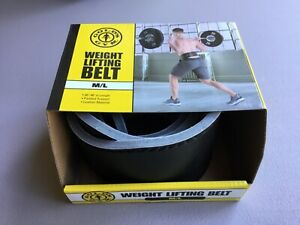"NWT Gold's Gym Leather Weight Lifting Belt M/L 30""-48"" Length Black #309U"