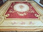 12' X 15' Hand Made French Aubusson Weave Rug Wool Savonnerie Design Red Wow