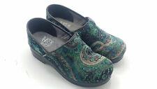 Dansko Vegan Clogs Women's Work Shoes Paisley Teal Blue Green Tapestry Size 38