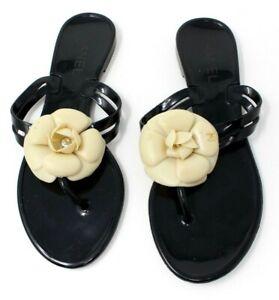 CHANEL Shoes Women's Camellia Beach Thong Sandal Flip Flop Sandals Black Size 37