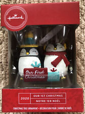 2020 Hallmark Red Box Our First Christmas Dated Tree Ornament 2 Penguins - New