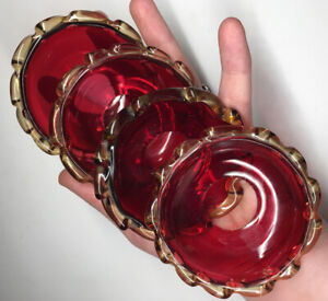 Lot of 4 Antique Victorian Ruby Cranberry Red w/ Yellow Glass Applied Bobeches