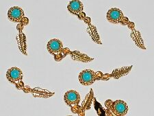 2 mini Dream Catcher flatback charm bead little pendant Feather leaf Turquoise *