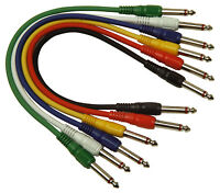 "6.3mm 1/4"" Mono Jack Patch Leads 0.3m x 6 1st class post"