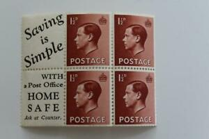 GB - SG459awi 1.5d Brown EDVII INVERTED WMK Pane with labels MNH* Cat £100