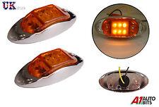 2x 12v 6 LED ambra arancione Lato Cromo Indicatore Luci Lampada Per Rimorchio Camion Autocarro