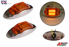 2x 12v 6 LED Cromati Laterali Arancio Marker AMBRA Luci Lampade Rimorchio Horsebox Van