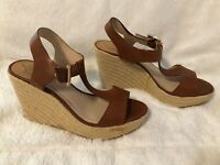 Vince Camuto Brown Leather Espadrille Wedge Sandals - Size 7.5M