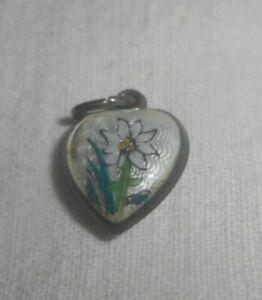 Vintage German Silver Guilloche Enamel Puffy Heart Charm  Pretty Flower