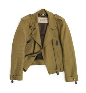 Womens Burberry Brit Patchford Linen Biker Jacket Motorcycle Size 12UK / 10US