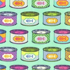 FreeSpirit Tula Pink Tabby Road Cat Snacks Cotton Fabric PWTP094 Blueberry BTY