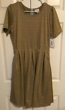 LuLaRoe Women's Amelia Dress, NWT, Mustard Brown, Stripes, Size XL