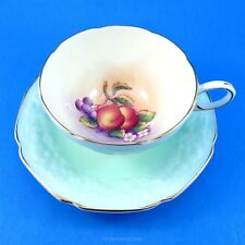 Mint Green Textured & Handpainted Fruit Center Paragon Tea Cup and Saucer Set