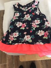 cc7a16af11f6 Abercrombie Kids Size 9 10 dress Navy Blue Floral Print Slveless Neon  Orange Hem