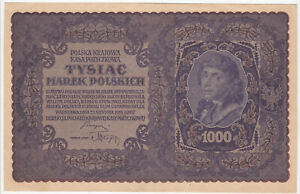 1000 MAREK EXTRA FINE BANKNOTE FROM POLAND 1919 PICK-29 HUGE SIZED