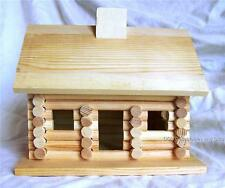 Unfinished Wood Log Cabin Style Birdhouse Stain or Paint to Suit Your Needs