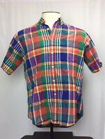 HUNT CLUB Mens 100% Cotton Multi Color Plaid short sleeve Button Shirt Sz M