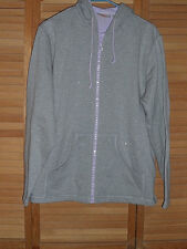 NEW WITHOUT TAGS-WOMENS QUACKER FACTORY HOODED SWEATSHIRT-ZIP-GRAY/LILAC-SIZE L