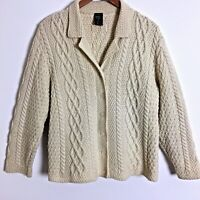 Paul James Irish knit cable cardigan sweater wool size L women's