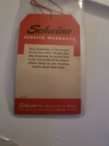VTG 1950 's SCHWINN BALLOON BICYCLE SERVICE WARRANTY HANG TAG SUPERB CONDITION