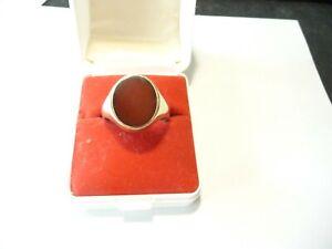 Karneol Herren Ring 333 Gold 8 Kt Gelbgold Edelstein 5,38 Gramm 64/20,4 mm