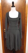 Vintage Alaia Gray Wool Knit Long Sleeve Plunge Scoopneck Sheath Dress Sz M