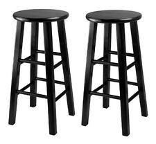 Winsome Wood 20224 Obsidian 24h Counter Stools With Square Legs-set of 2 Black