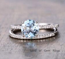 Wedding 2 Ring Set,Aquamarine with Diamond Solid 14K White Gold,7mm Round Cut,6#