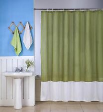 1 H10 LIME/WHITE WATER REPELLENT SHADES FABRIC BATHROOM SHOWER CURTAIN