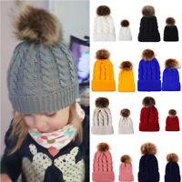 Women Kids Baby Mom Warm Winter Knit Beanie Fur Pom Pom Hat Crochet Ski Ball Cap