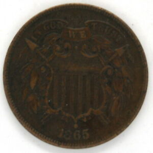 1865 P Two (2) Cent Piece US Copper Coin United States In God We Trust