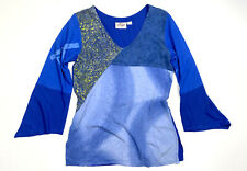 Orchid Lane Womens S / M Blue Floral Blouse Long Bell Sleeve Top Floral Print