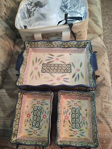 TEMPTATIONS~OLD WORLD CONFETTI~9 PC BAKERS, WIRE STANDS, TRIVETS & THERMAL TOTE~