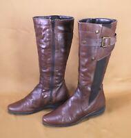 5S Yessica Damen Stiefel Biker Boots Leder Gr. 37 dunkelbraun flach Schnallen