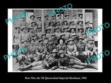 OLD LARGE HISTORIC PHOTO OF BOER WAR AUSTRALIAN SOLDIERS, 5th QLD BUSHMEN c1902