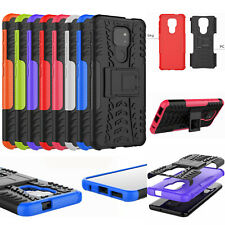 For Motorola G9 Play, 2in1 Dual-Layer Shockproof Rugged Hybrid Armor Case +glass