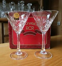 Pair of Rare Italian Vintage boxed Rock Crystal Rock Cocktail Martini Glasses