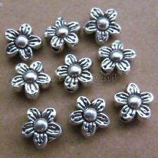 100pc Tibetan Silver 2-Sided Flower Spacer Beads Accessories Findings B0114P