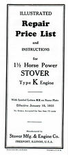 Stover Type K E Gas Engine motor Manual book parts list hit miss wico ek magneto