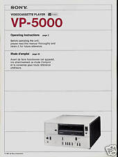 SONY VP-5000 VIDEOCASSETTE PLAYER OP INSTRUCTIONS