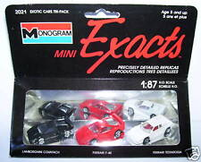 3 EXACTS MONOGRAM HO 1/87 FERRARI F40 TESTATORASSA LAMBORGHINI COUNTACH IN BOX